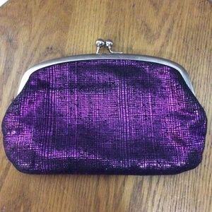 Purple metallic clip little purse